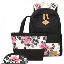 Volkstinte Gemälde waschen Pinke Blumen Rose Schulmädchen Schwarz Segeltuch Großer Rucksack