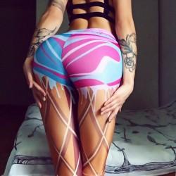 Einzigartiges Mädchen imitieren Echt Beine Linien Schnüren Drucken Dünn zeigen Visuell Bewirken Gamaschen