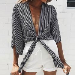 Sexy Girl Streifen Wrap-and-Tie bauchfreies Oberteil halbe Ärmel Brust Wrap Shirt