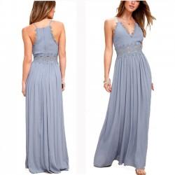 Sexy V-Ausschnitt Straps Spitze aushöhlen Frauen reine Farbe Abendkleid