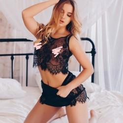 Sexy Unterwäsche Set Spitze Weste Wimper Lace Perspektive Frauen Intimate Dessous