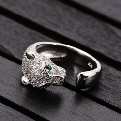 Einzigartiger Design-Silber-Leopard-justierbarer Tier-offener Ring des Diamanten