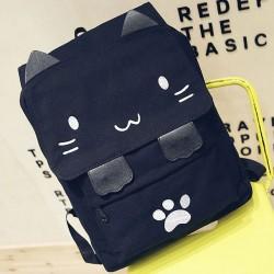 Nette Stereo Stickerei Cartoon Katze Platz große Tier Kätzchen Leinwand Mädchen Schulrucksack