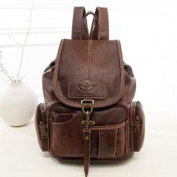 Retro Einzelhaken Braun Britischer Stil Leder Damenrucksack