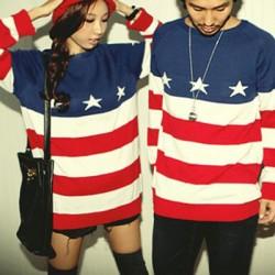 Mode amerikanische Flagge gedruckt Pullover für Liebhaber