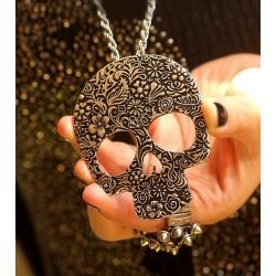 Jahrgang Schädel Gedruckt Anhänger & Strickjacke Halsketten