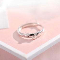 Reizendes lustiges rosa Schwein-Liebhaber-Geschenk öffnen silbernen Ring