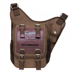 Vintage Tactical Vier Schnallen Gürteltasche Outdoor Umhängetasche Herren Leder Aktentasche Tasche Canvas Umhängetasche
