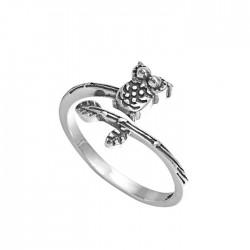 Schön Thailändisches Silber im ethnischen Stil Eulenring Art Zweig offener Ring
