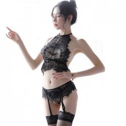 Sexy Wimpern Spitze Spleiß Schwarz Perspektive BH Set Damen Dessous