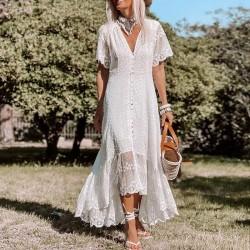 Mode Tiefer V-Ausschnitt Mittlere Ärmel Blumen Spitze Unregelmäßige Rock Maxikleid Party Abendkleid Kleid