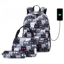 Niedlich Cartoon Katzen Druck Leichte Handtasche Federmäppchen 3-teiliges Set Kätzchen Wasserdichte Schultasche Mit USB-Ladeanschluss Student Rucksack