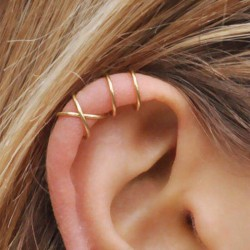 Punk einfaches Paar Paar Ohrringe Clips 925 Silber Asymmetrie Kreuz Ohrringe Clips