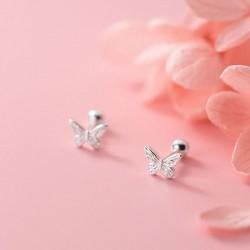 Cute Tiny Butterfly Silver Earring Studs Screw Thread Animal Earrings For Women