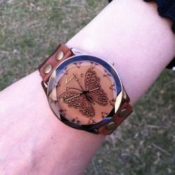 Retro Elegante Schmetterling Leder Uhr