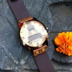 Retro Eiffelturm Brown Leder Uhr