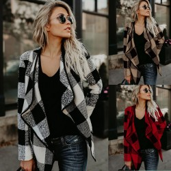 Lässige Plaid Damenjacke Lapels Wollgittermantel
