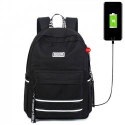 Neuer doppelter weißer Streifen-wasserdichter Kursteilnehmer-Beutel USB-Schnittstelle-großer Hochschulsegeltuch-Rucksack