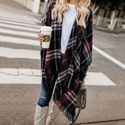 Mode Kontrastfarbe Gitter Quaste offenen Schal Strickmantel Pullover