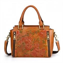 Retro Doppelreißverschlüsse 3D Blumen Handtasche Leder Vintage Umhängetasche