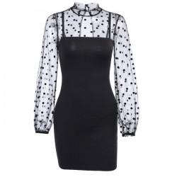 Sexy Stitching Langarm Schwarz Tupfen Kleid Gittergewebe Formelle Kleidung