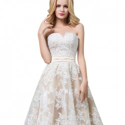 Elegant Verlassen Blume Spitze ärmelloses Wickel Brust Brautjungfernkleid Abendkleid
