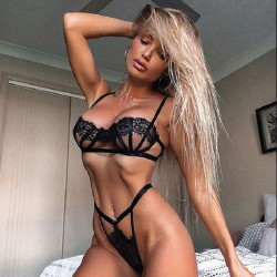 Sexy schwarze Spitze BH Set Mesh Sling Unterwäsche weibliche Dessous