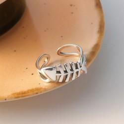 Mode Fischgräte Hohl Schmuck Geschenk für Sie Silber Offen Ring