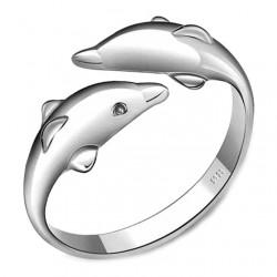 Romantischer Liebhaber Silberner Tierring Doppelter Delphin Offener Ring