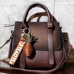 Retro gefrostet Gürtel Große Kapazität Handtasche Spleißen PU Umhängetasche