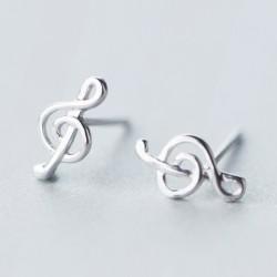 Einfache Schönheit der Linie Silber Musik Noten Süße Frauen Ohrring Ohrstecker