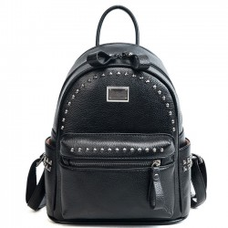 Leisure Cool Rivet Women Small Soft PU Lady School Backpack