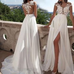 Mode Teilt Abendkleid Gittergewebe Perspektive Prom Sexy Lace Langes Brautjungfernkleid