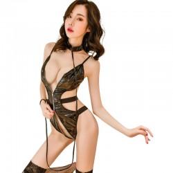 Sexy schwarzer Teddy für Frauen Prisoner Bundle Cosplay Lackleder Einteiliger Reißverschluss Öffnung Bodysuit Dessous