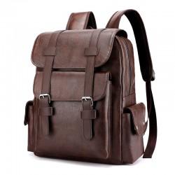 Retro Doppelschnalle Plus Größe 15,6 Zoll Laptop Rucksack Schultasche College Weicher PU Rucksack
