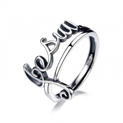 Retro Music Note Clef Hollow Jesus Letter Hollow Open Ring Silver Gift For Music Lover Song Ring
