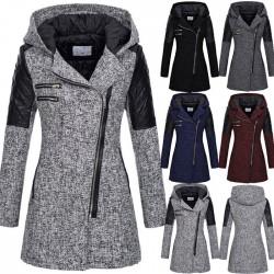 Mode Herbst Winter Mantel für Frauen Spleißen Schräg Reißverschluss Kapuze Woll Trench Long Damen Mantel