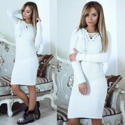 New Hollow Warm Midi Bottoming Stricken Damen Pullover Kleid