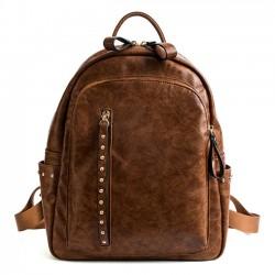 Retro Rivet Student Bag Vertikaler Reißverschluss Großer PU-Schulrucksack
