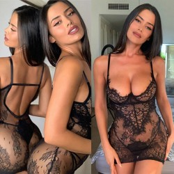 Sexy schwarze Spitze Nachthemd gehören Frauen intime Hosen Mesh Nachthemd Dessous