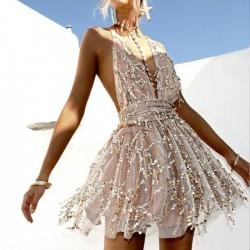 Sexy Pailletten Tief V-Ausschnitt Riemen Halfter Gaze Mode Pailletten Sling Kleid