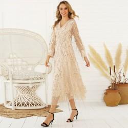Freizeit Langarm Pailletten Fransen Perspektive Quaste Pailletten Damen Langes Kleid