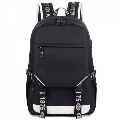Lässige schwarze Oxford Doppelschnalle Draussen Mittelschultasche Rucksack für Schüler mit großer Kapazität