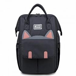 Niedliche Katzenohr-Karikatur wasserdichte große Laptoptasche Multifunktions-Handtasche Rucksack Studentenrucksack