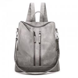 Retro Doppel vertikaler Reißverschluss Mehrzweck PU Handtasche Umhängetasche Damen Rucksack