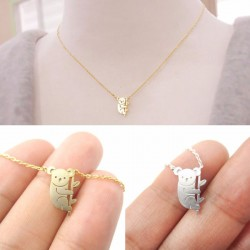 Niedlich Bär Anhänger Halskette Kleines Tier Gold Silber Überzug Halskette