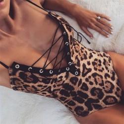 Sexy Siamesischer V-Ausschnitt Leopard Bandage Bademode Damenunterwäsche