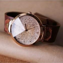 Handgemachtes glänzende Strass Leder Uhr