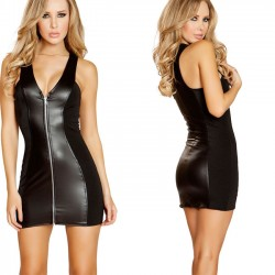 Sexy Patent Leather Dress Nightclub Zipper Temptation Nightgown Chemise Intimate Women Lingerie