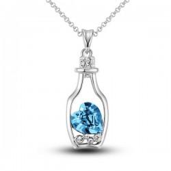 Mode  Herz-Kristallhohl Flasche Halskette
